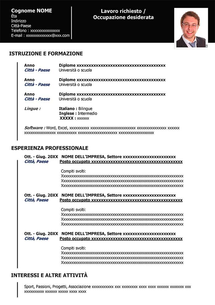 curriculum vitae download da compilare in word