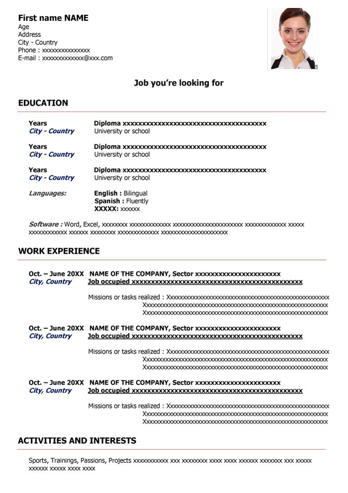 Curriculum Vitae In Inglese Da Compilare Cv English Word