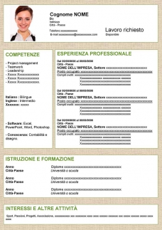 curriculum vitae originale in word