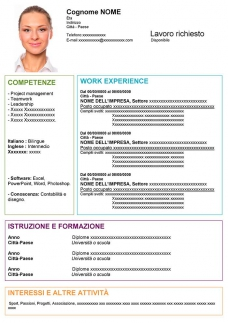 cv originale da compilare in word