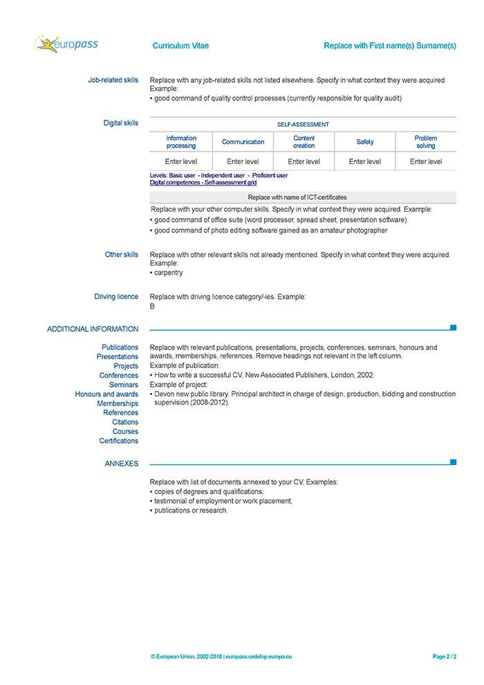 cv europass in inglese ufficiale da compilare
