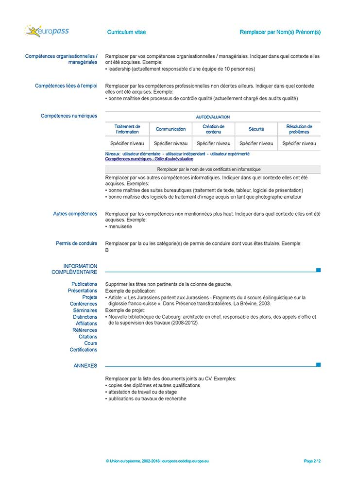 curriculum vitae in francese da compilare