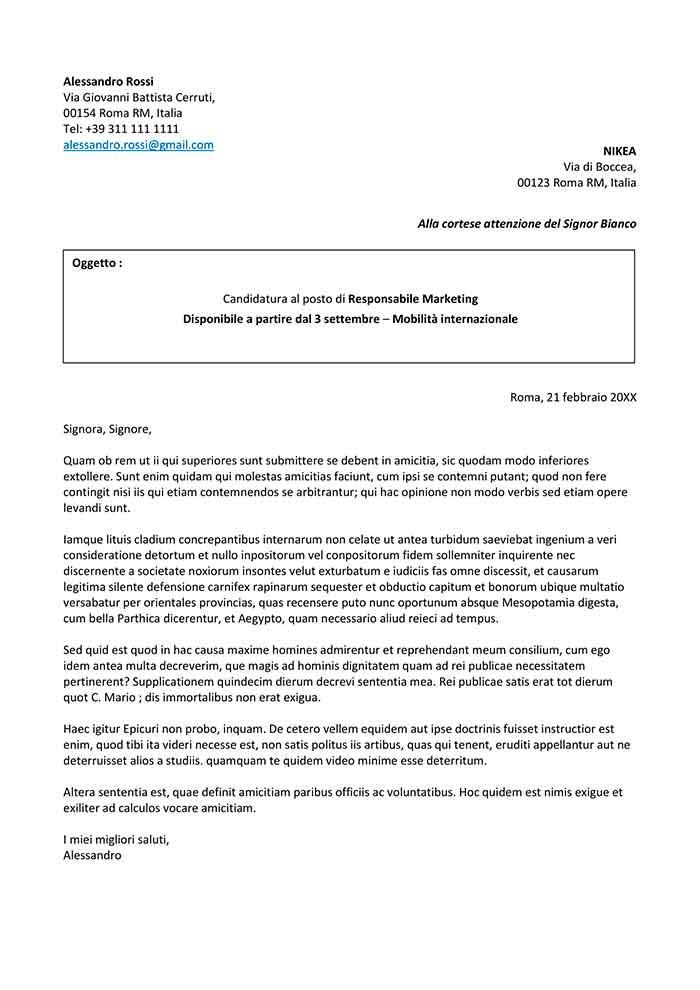 lettera di presentazione per un lavoro da compilare