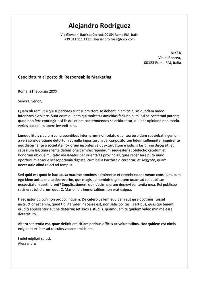 modello lettera di domanda di impiego